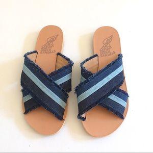 """Ancient Greek Sandals """"Thais"""" Denim Blue Sz 8 NWOT"""